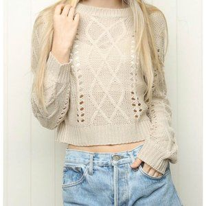 Brandy Melville Lynn Cableknit sweater cream OS